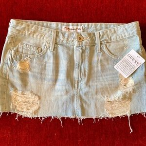 Guess Denim Skirt Light Destroyed Wash New w/tags
